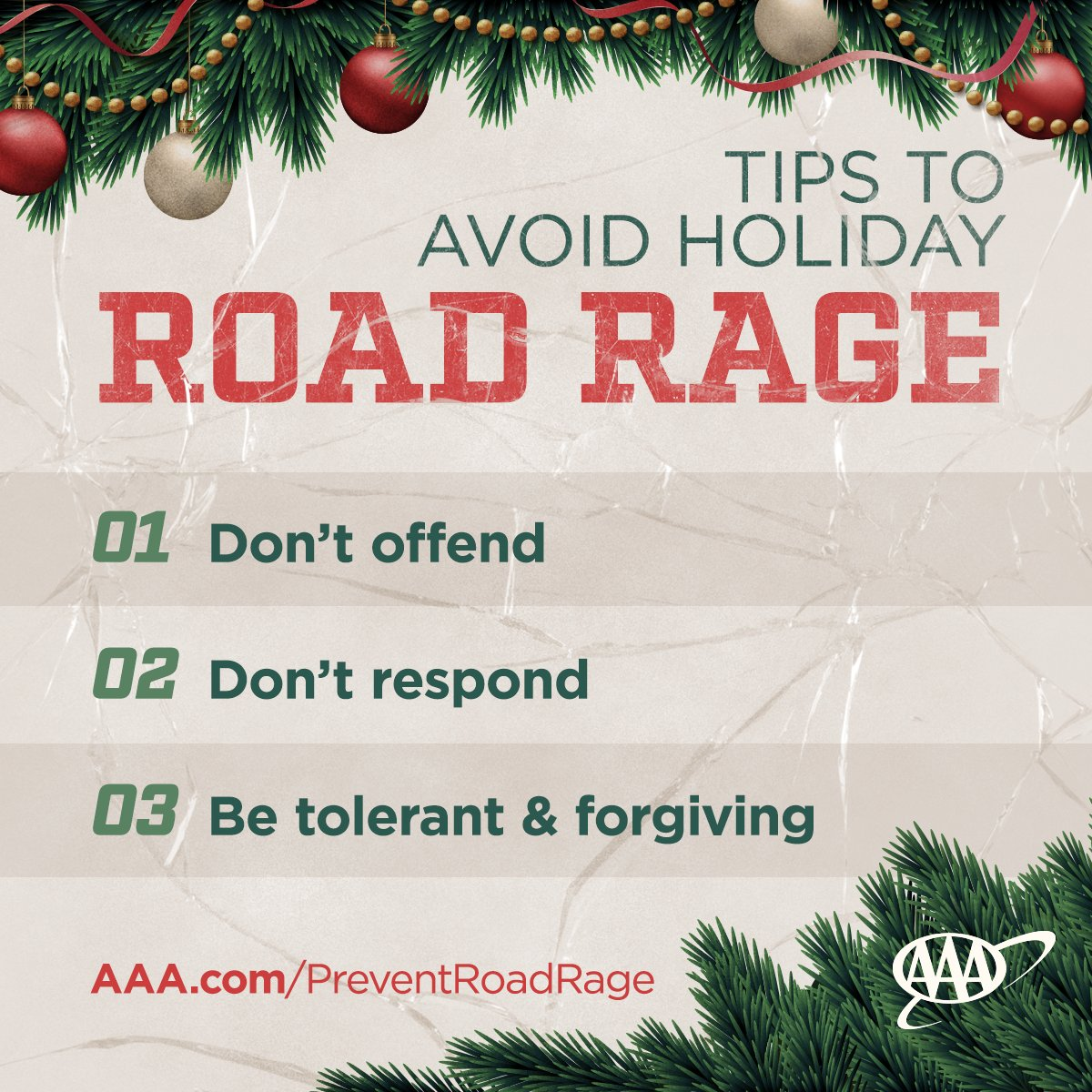 The holidays can be a stressful time. AAA offers these tips to help prevent road rage and assist drivers in reaching their destination safely. #KeepCalm #StayCool #PackYourPatience