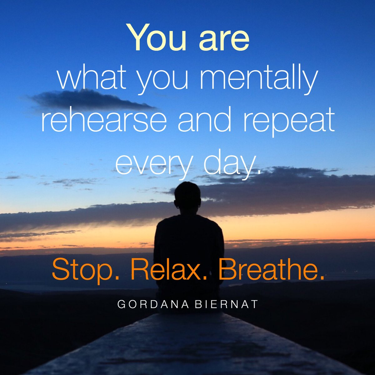 You are what you mentally rehearse and repeat every day.  Stop. Relax. Breathe.  Give yourself time to think and space - to just be.  #Love #ShineOn #FridayFeeling<br>http://pic.twitter.com/Bq7VPytpWo
