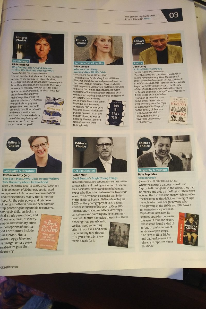 My @thebookseller non-fiction Editors Choices for March 2020 include books by @natchjourneyman Rebecca Solnit, Julia Samuel, Phyllis Rose, @petepaphides Robin Muir, @_katherine_may_ John Carey, Ada Calhoun & @michaelshawbond