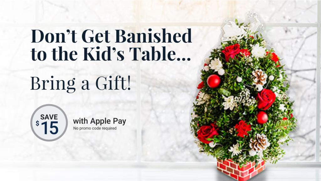 Share the joy of the season and save $15 with Apple Pay! No promo code required.