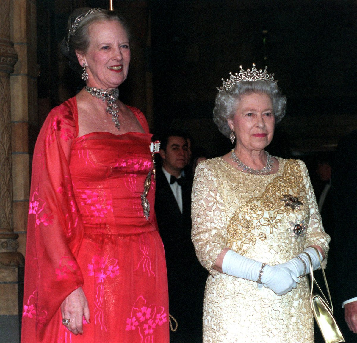 Queen Margrethe is joint Patron of the Anglo-Danish Society, alongside Her Majesty The Queen. They are pictured here together during the Danish State Visit to the UK in 2000.