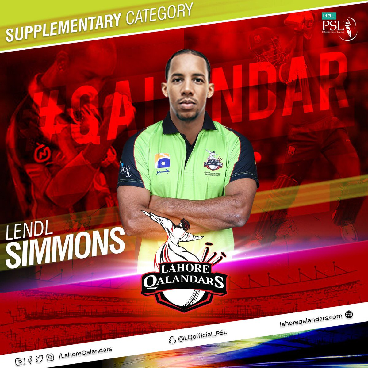 West Indies 🔝order batsman @54simmo joins the Lahore Qalandars squad! A warm welcome to him in the Qalandars family for the 5th edition of #HBLPSL! #DamaDamMast #MainHoonQalandar #HBLPSLDraft2019