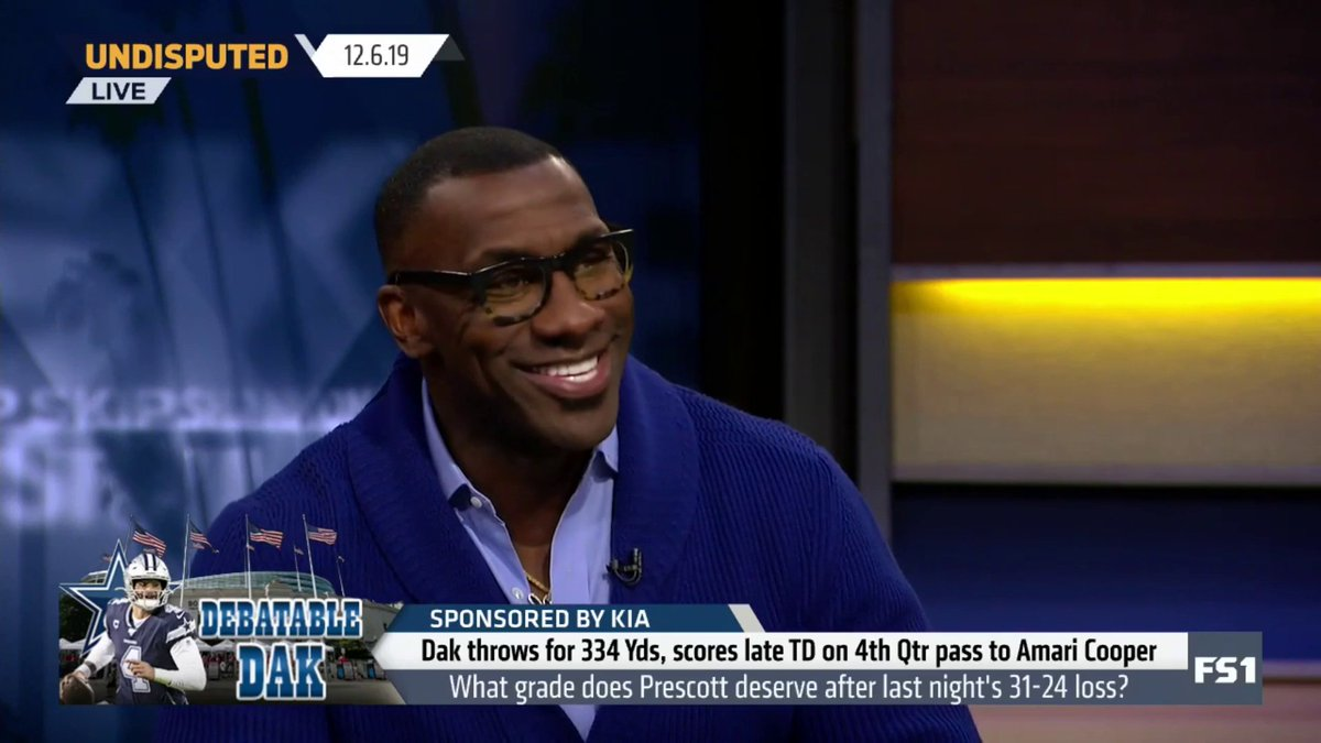 .@RealSkipBayless: Come on, be objective for once in your life. What grade would you give Dak?@ShannonSharpe: F. I wanted to give him an L for last, least, lower, lackluster. 🤣