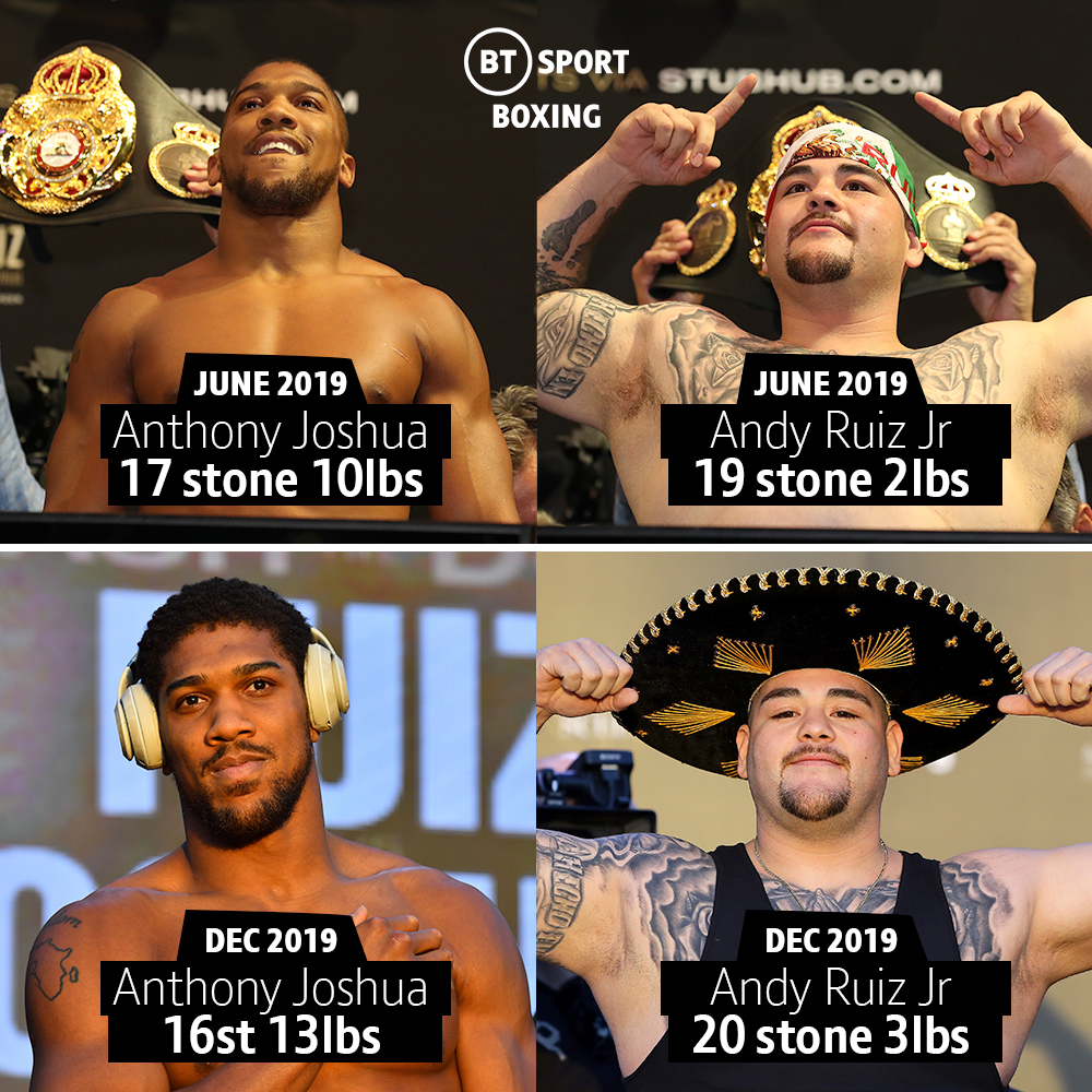 Anthony Joshua and Andy Ruiz Jr have gone different ways since the summer 👀📉📈