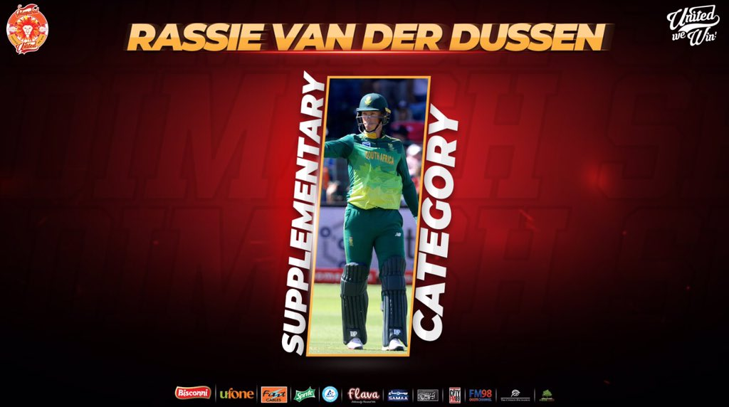 Our FINAL PICK of #HBLPSLDraft2019 is South African star RASSIE VAN DER DUSSEN!!! Welcome to #ISLUFamily @Rassie72 🤩🙌 #RedHotSquad