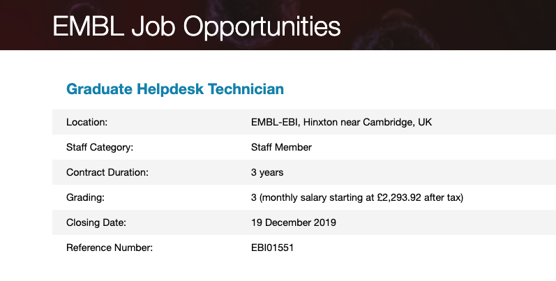 Closing: #Graduate opportunity to develop your #ITsupport & comms skills. We're hiring #Helpdesk #Technicians to support our scientific and technical users #EMBLjobs #gradjobs #windows #linux #macos #techjobs https://www.embl.de/jobs/searchjobs/index.php?ref=EBI01551 …pic.twitter.com/BdYbvYPexJ
