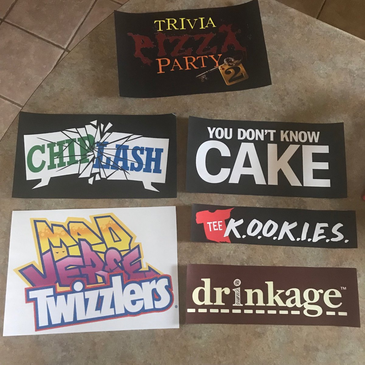 My son's having a ⁦@jackboxgames⁩ themed birthday tonight. Made up some signs for the snacks. #partytime