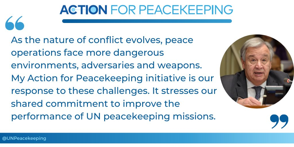 """""""Performance is a collective responsibility of all those involved in peacekeeping."""" - @antonioguterres at high-level event on peacekeeping peformance. #UNSCR2436 #PKPerformance #A4P"""