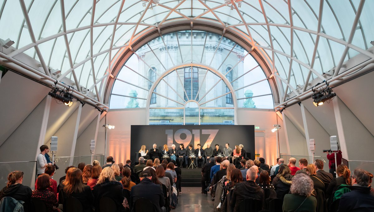 Director and co-writer Sam Mendes was joined by his best of British cast and crew for the event at @I_W_M London to discuss his latest film #1917Film.