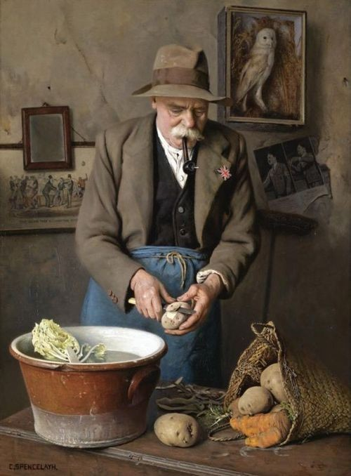 The wise eat more potatoes  Charles Spencelayh  (1865-1958)  A simple dinner, perhaps frugal, certainly honest.  God bless your meal   Serene evening everyone  <br>http://pic.twitter.com/m3Q1BY1VD8