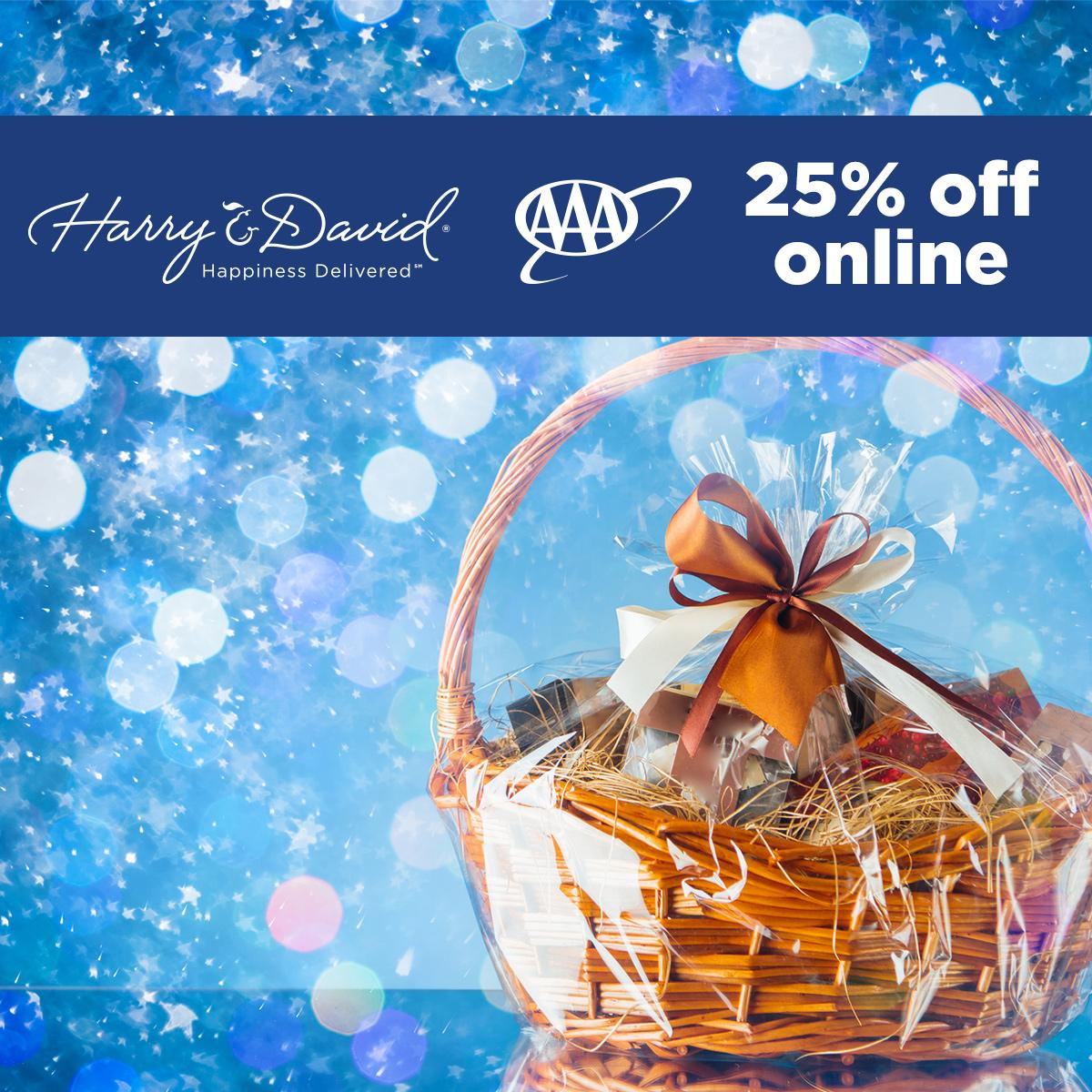 It's #FeaturedDiscountFriday, here to make the holidays delicious!    Now thru December 31st, AAA Members receive 25% off while shopping online for Harry & David premium gifts. Shop online now using promo code 25AAA     #HolidayShopping #AAADiscounts