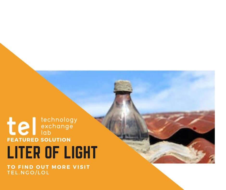 .@literoflight devised a simple method for providing #light in off-grid places by installing a PET bottle filled with water and chlorine in a roof.  💡#light4all