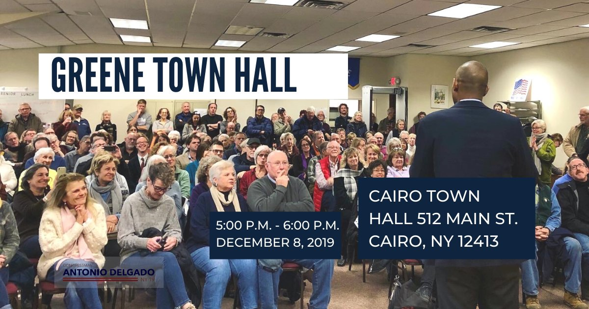 Greene County: Join me to share your thoughts and priorities this Sunday, 12/8 at my 32nd town hall in #NY19. Details: delgado.house.gov/events/greene-…