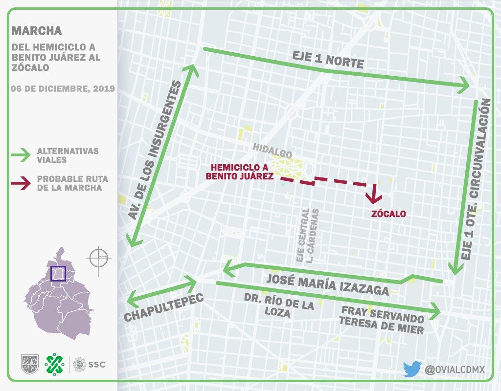 11:22 #PrecauciónVial continúa el arribo de manifestantes al Hemiciclo a #Juárez para realizar marcha rumbo al Zócalo. Consulte aquí #AlternativaVial