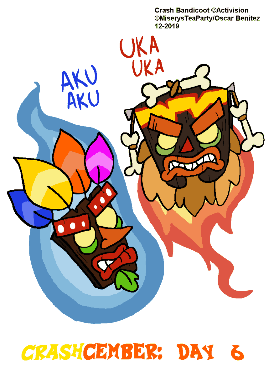 Day 6 of #Crashcember has my first 2 in 1 with the magic tiki masks brothers, the wise Aku Aku, and the evil Uka Uka! <br>http://pic.twitter.com/Vrrmshk0Ig