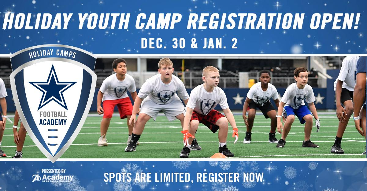 #CowboysNation🗣Join us this for a 1️⃣-day @dallascowboys Football Academy youth camp! Receive individualized on-field coaching from former @NFL players for the experience of a lifetime! 🏈 Camps are available for grades 1-8 at #ATTStadium → bit.ly/36kpf6X
