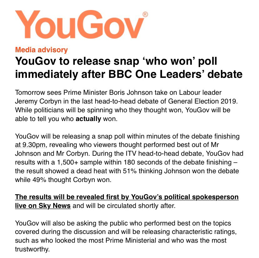 """Sky News will reveal who """"won"""" the debate according to a snap YouGov poll straight after the BBC debate finishes T 2130.   So the moment it's over - tune into Sky News for the poll, and full spin room analysis https://t.co/da2RyFcKnr"""