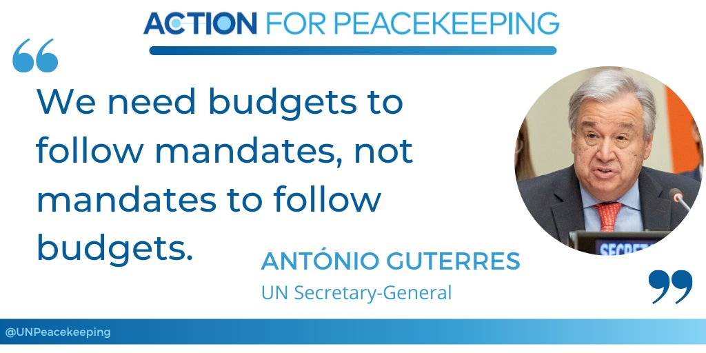 Secretary-General @antonioguterres called on the Security Council to provide sustained and predictable funding as well as a robust framework for peace operations. #A4P #UNSCR2436 #PKPerformance