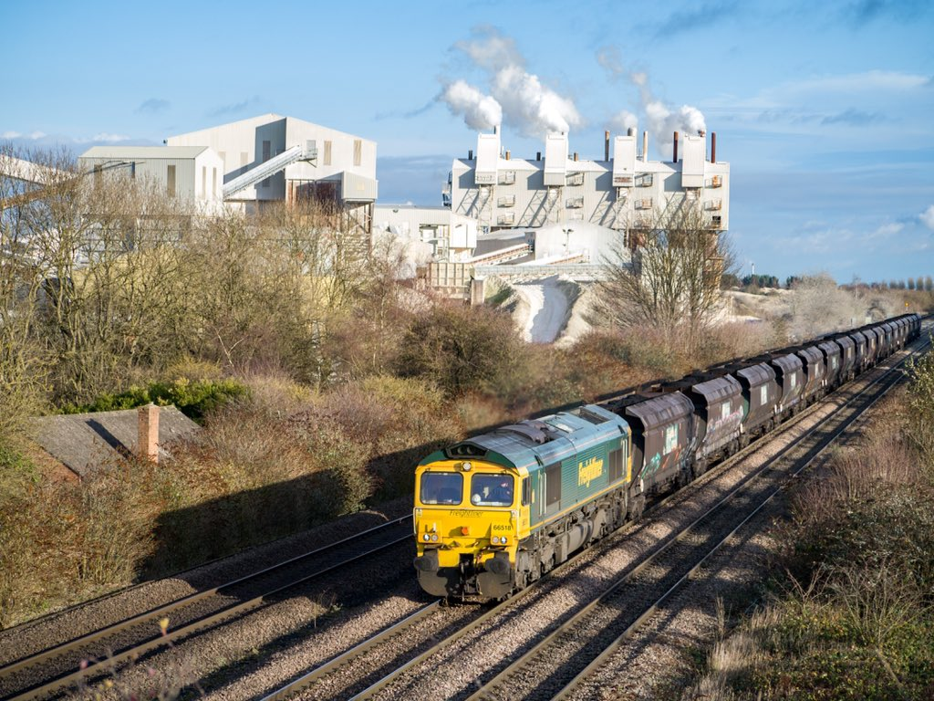66518 with loaded coal from Immingham Bulk Terminal. Heading for Scunthorpe Coal Plant at the steelworks. The coal is used for the blast furnace. Seen here passing Melton Ross 06/12/19 <br>http://pic.twitter.com/5QFIF1UzAV