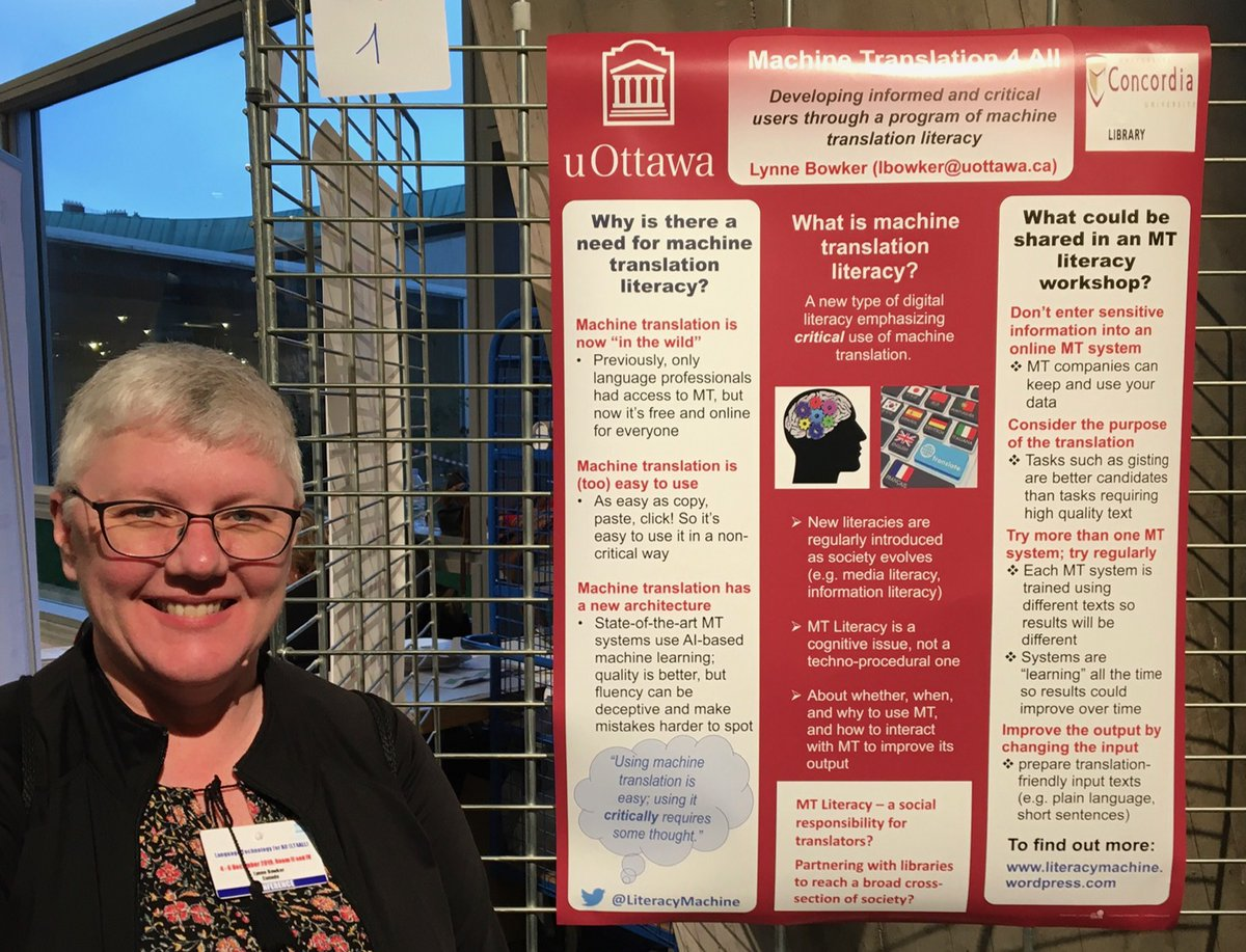 Another snapshot of @bowkerl - this time representing the #MTLiteracy project at UNESCO's Language Technology for All (#LT4All) conference in Paris. The takeaway? Using MT is easy (almost too easy), but using it critically requires thought. <br>http://pic.twitter.com/Vp9ukuLG9Y