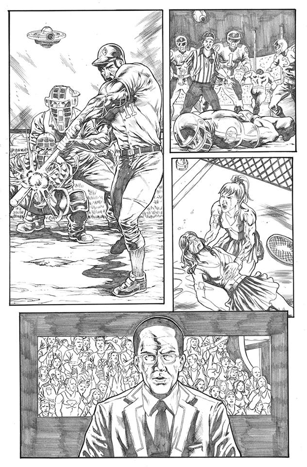 """David"" meets Goliath"" in the Octagon!   Here are some original pencils from @JuliusAbrera for FIGHT OF CENTURY.   Experience the finished product by visiting the official Rex Co store on @Shopify. http://ow.ly/LQjs30pZFNM   #readmorecomics  #Indiecember  #MMA #cyberpunk"