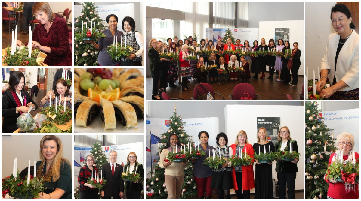 test Twitter Media - Spouses of ambassadors & high commissioners got creative and made beautiful advent wreaths at a festive event hosted by @DRehakova & the Christian Embassy at the @SLOVAKIAinUK. It's beginning to feel a lot like Christmas... https://t.co/955RyZzHC0