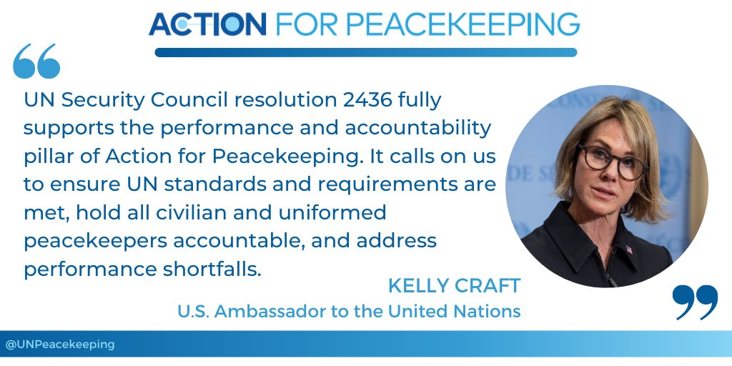 """""""Peacekeeping is among the most impactful undertakings of the @UN."""" - @USAmbUN Kelly Craft at high-level event on peacekeeping performance. #A4P #UNSCR2436 #PKPerformance"""