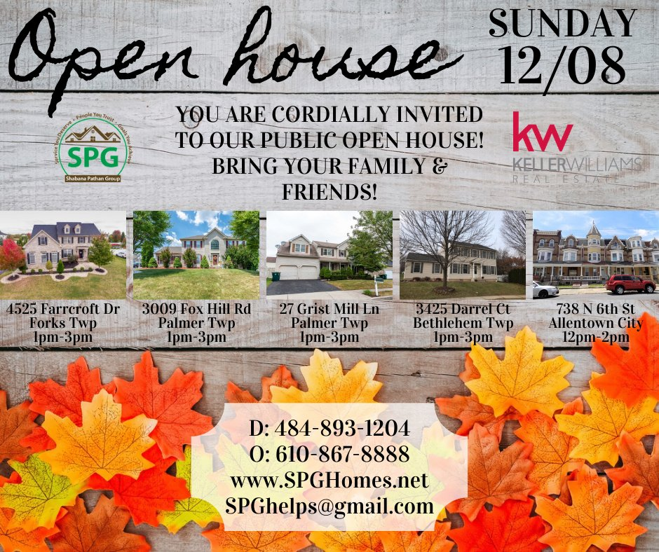 Come in from the cold into your forever home! Come see our beautiful houses at our open house this Sun 12/08!#spg #shabanapathangroup #kellerwilliams #realestate #realtor #localrealtor #lehighvalley #openhouse #forkstwp #palmertwp #bethlehemtwp #allentowncity #sundayfunday