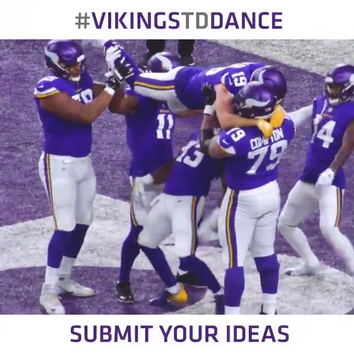 Hey #Vikings fans, we need your help! Were looking for some new unique TD celebrations to use on the field. Send us a video of your idea using #VikingsTDDance and #contest for your chance to win tickets to #MINvsCHI and to show our team your idea. 📎: mnvkn.gs/VikingsTDDance