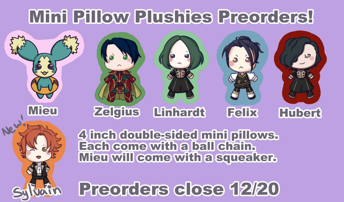 I've now added Sylvain to the line up!    https:// cookybandit.bigcartel.com/product/preord er-pillow-charms  …   #FireEmblem3Houses #FE3H<br>http://pic.twitter.com/xxOrkuMrZb