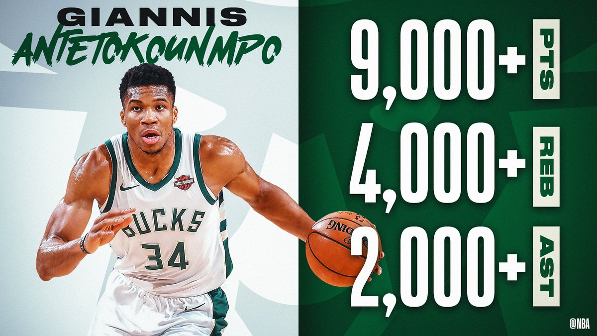 The ONLY player in  @NBAHistory to record 9,000+ PTS, 4,000+ REB and 2,000+ AST before turning 25 years old!    @Giannis_An34 and the  @Bucks look to win their 14th straight game tonight vs. LAC on NBALP (8:30pm/et).  #FearTheDeer