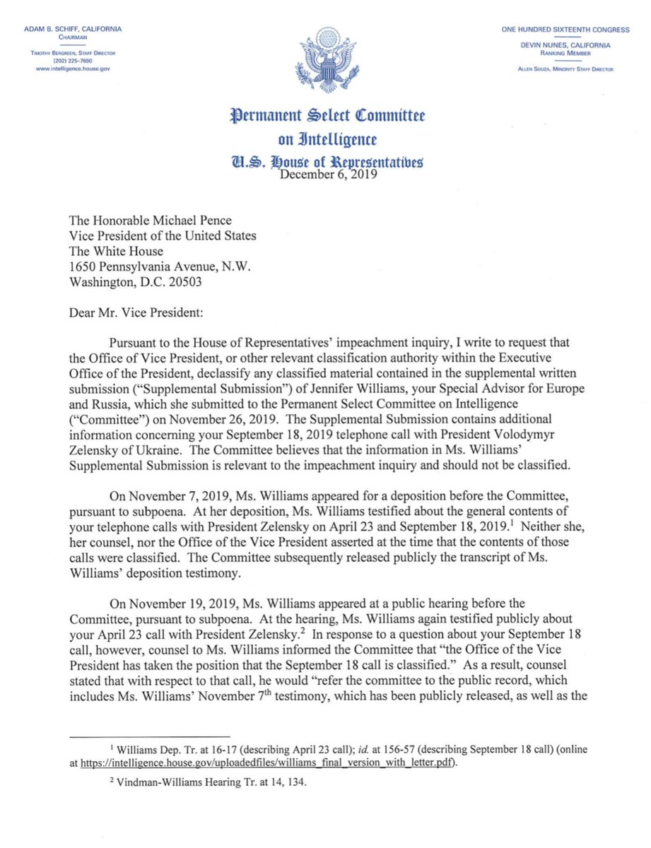 MORE FRIDAY NEWS: House Intel Chairman Adam Schiff just sent this letter to VP Pence asking the admin to declassify Jennifer Williams' supplemental testimony to impeachment investigators.