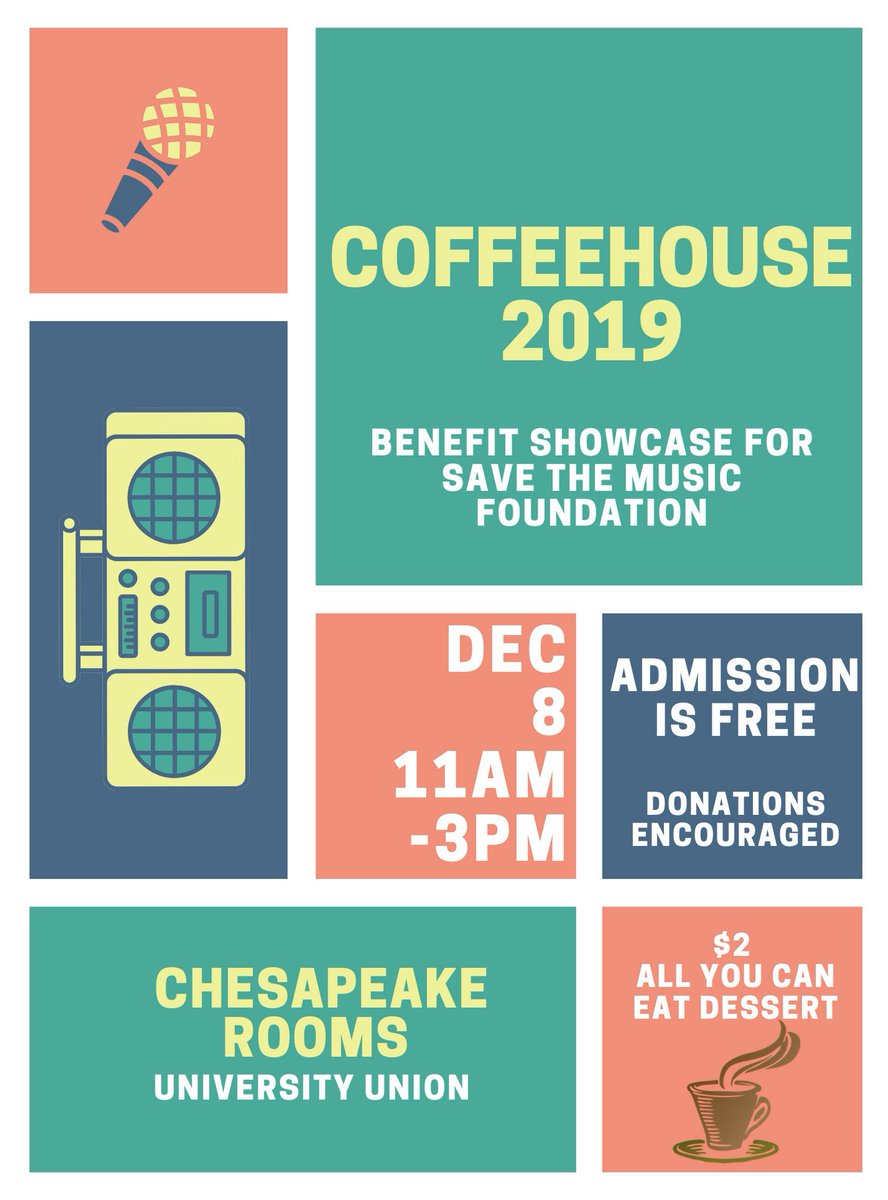 Coffeehouse 2019 Sunday, Chesapeake Rooms in the Union, 11-3. Admission is FREE! $2 All You Can Eat Dessert. Hope to see you there <br>http://pic.twitter.com/xlg7HVH96T