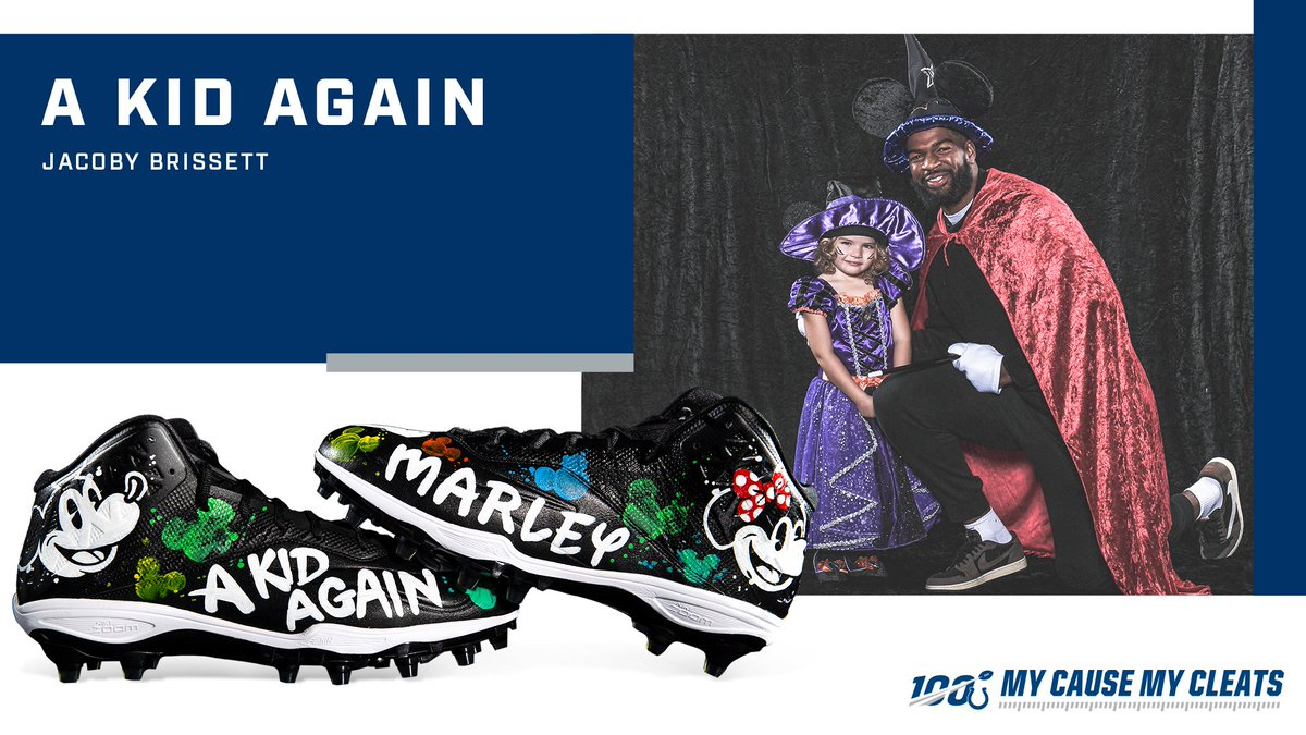 .@JBrissett12 met Marley during his Halloween Fashion Show. He's repping her on his shoes this Sunday. 🥰 @AKidAgain | #MyCauseMyCleats