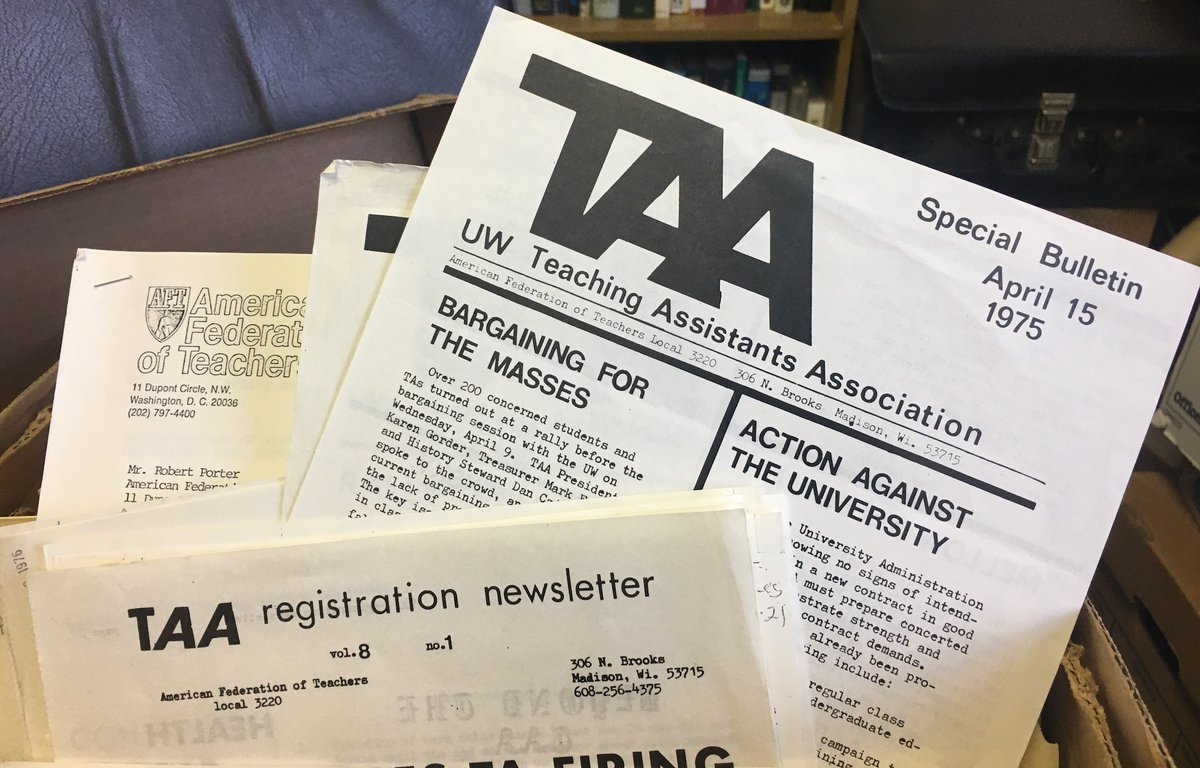We are on a roll! Another new collection of AFT history open for research. This time it is AFT Higher Education Dept: Graduate Employee Organizing files! Very cool stuff folks!  http:// reuther.wayne.edu/node/14778      @AFTHigherEd #1u #laborhistory <br>http://pic.twitter.com/druO1LBCgo