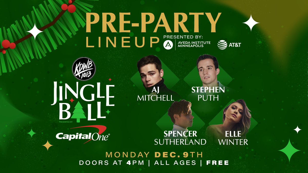 Don't miss our FREE #KDWBJingleBall Pre-Party Monday! @stephenputh @ajmitchell @Spencermusic1 & @EllewinterX - Doors open at 4PM - Presented by @ATT https://t.co/lce7xqgyKG