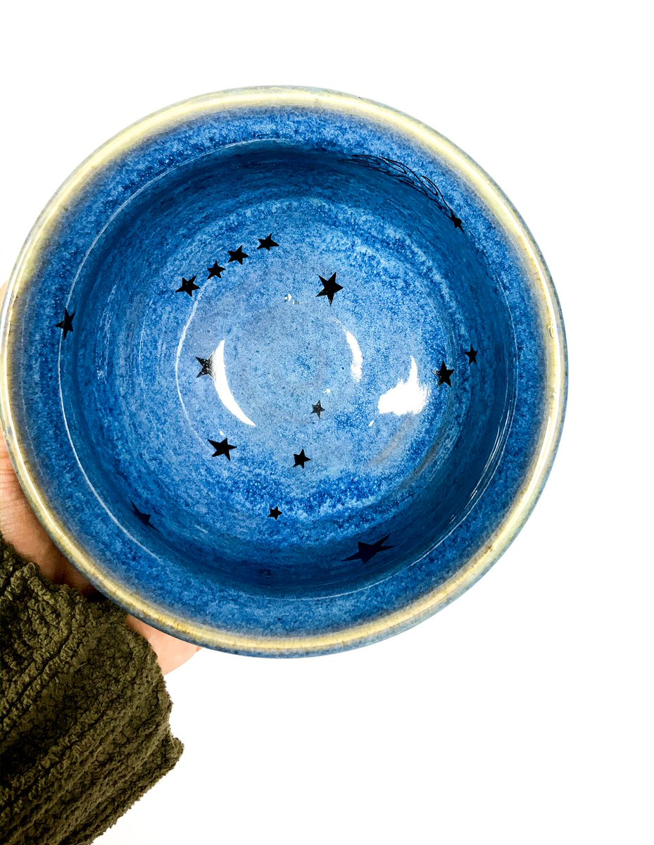 New stoneware bowl with symbols of the earth, sun, moon and space. Just listed at .   #artist #art #ceramics #stoneware #glaze #stars #planets #space #handmade #maker #wheelthrownpottery #pottery