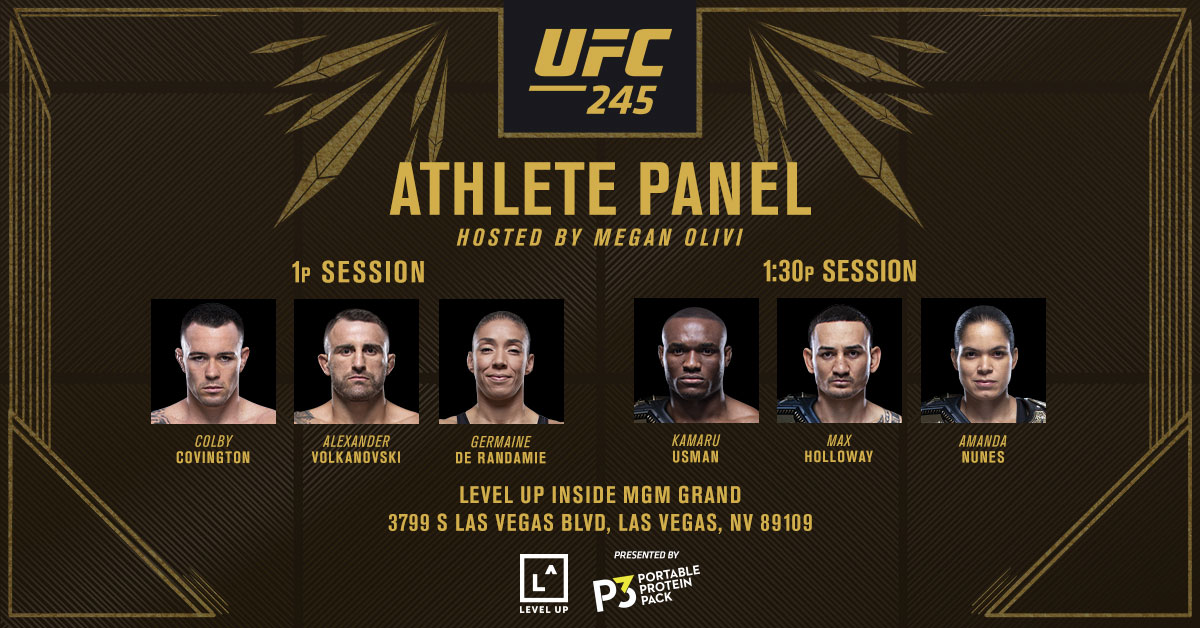 We're taking your questions!  Use #AskTheChamps & #AskTheChallengers and have your questions asked by @MeganOlivi!   FULL SCHEDULE ➡️ https://bit.ly/36eIVbZ  #UFC245