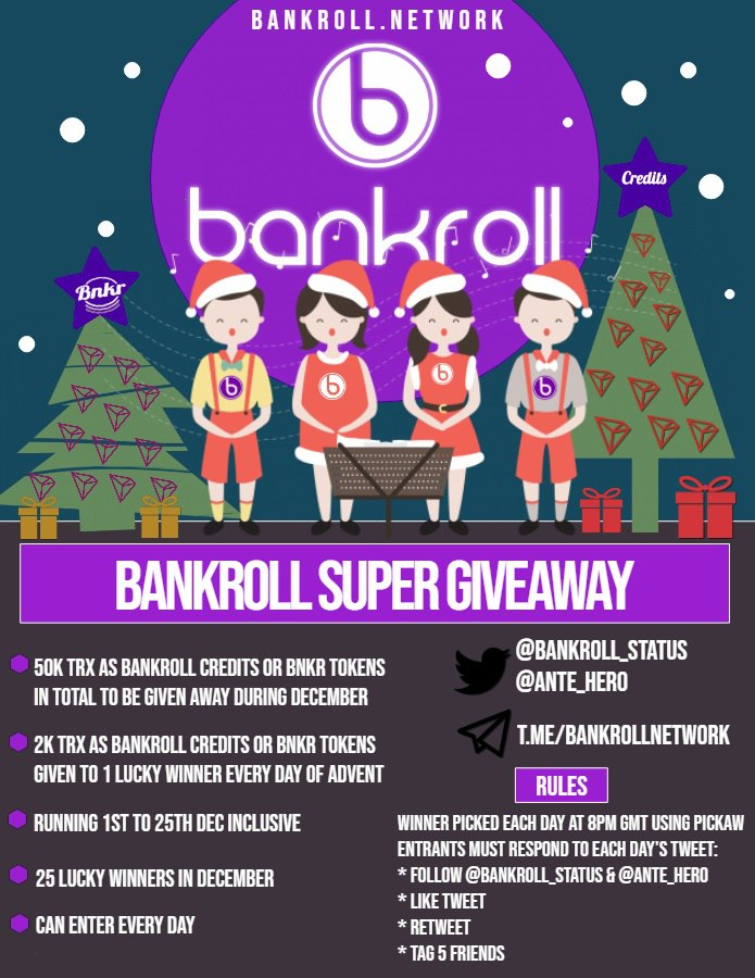 Win 2,000 TRX as Credits  Bankroll Super Advent Daily Giveaway   Rules on poster  Also Follow @yafeelmi1st  Winner chosen Sat 7th Dec 8pm GMT  @bankroll_status   http:// bankroll.network         #tron #trx #CryptoGiveaway #blockchain #crypto #btc #bitcoin #cryptocurrency<br>http://pic.twitter.com/lwCjoUffDX