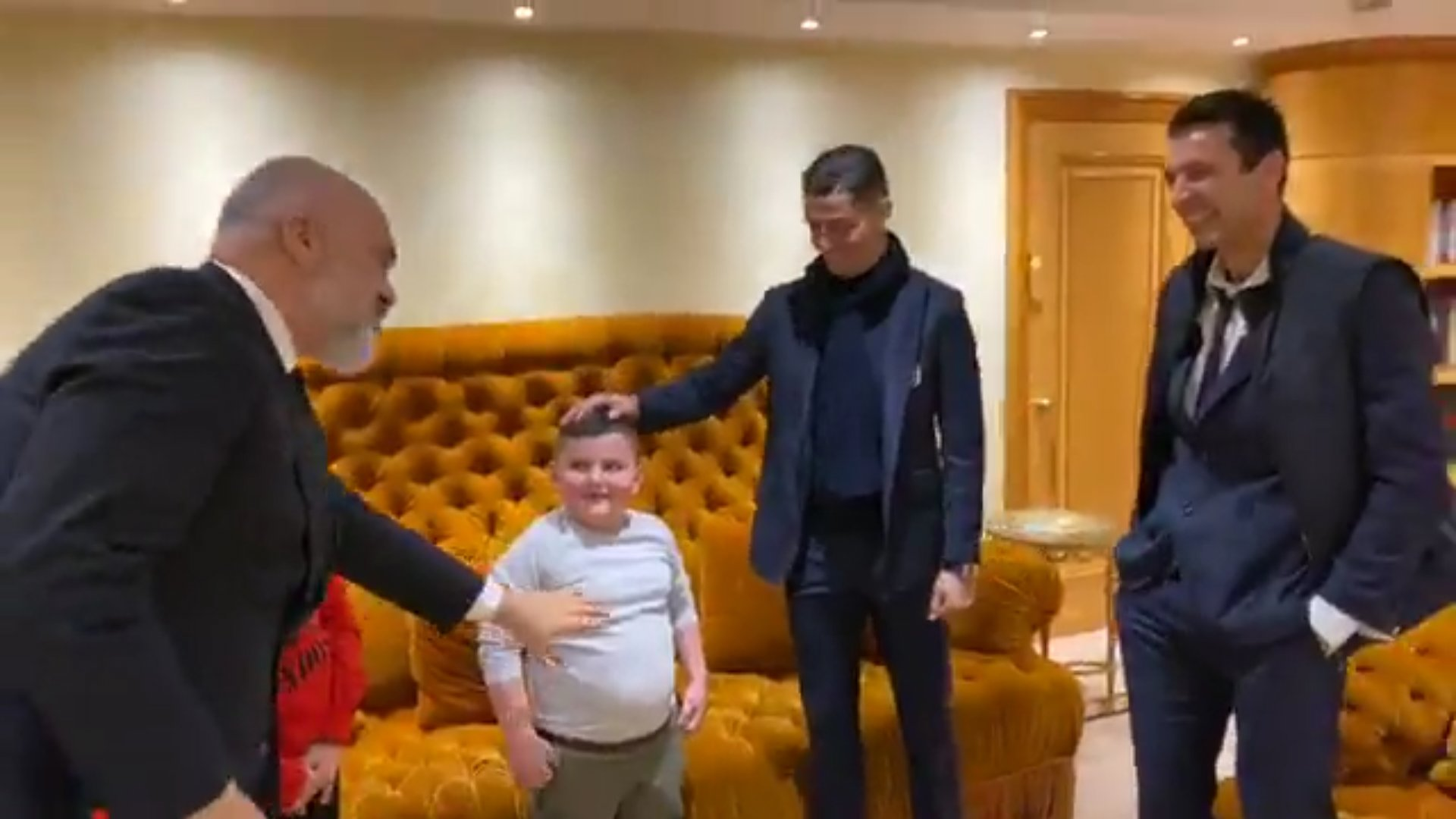 "Team Albanians on Twitter: ""When PM Rama met with Alesio and Aurel, survivors of the earthquake who lost family members, they told him their favorite soccer players were Cristiano Ronaldo and Gianluigi"