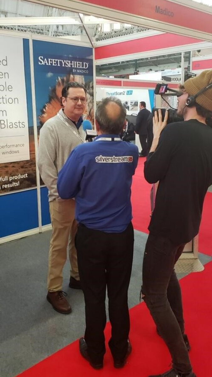 This week Madico is in London England at the International Security Expo (ISE). Steve Wood and Jay Larkin are educating people about our SafetyShield products and attachment systems. Learn more about SafetyShield- madico.com/safety-securit… #MadicoInc #SafetyShield #ISE19