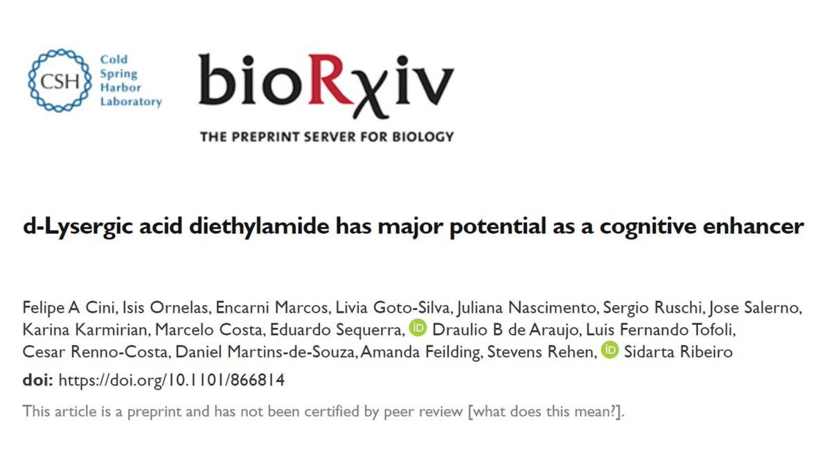 The preprint of our more recent work - d-Lysergic acid diethylamide has major potential as a cognitive enhancer - is available at @biorxiv_neursci: biorxiv.org/cgi/content/sh…