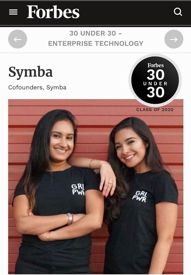 We are incredibly excited to share that Symbas co-founders @ahva_sadeghi and @nikita_gupta1 made it to the @Forbes 30 Under 30 Class of 2020 list for Enterprise Technology! #ForbesUnder30 #FemaleFounders #WomeninTech forbes.com/profile/symba/…