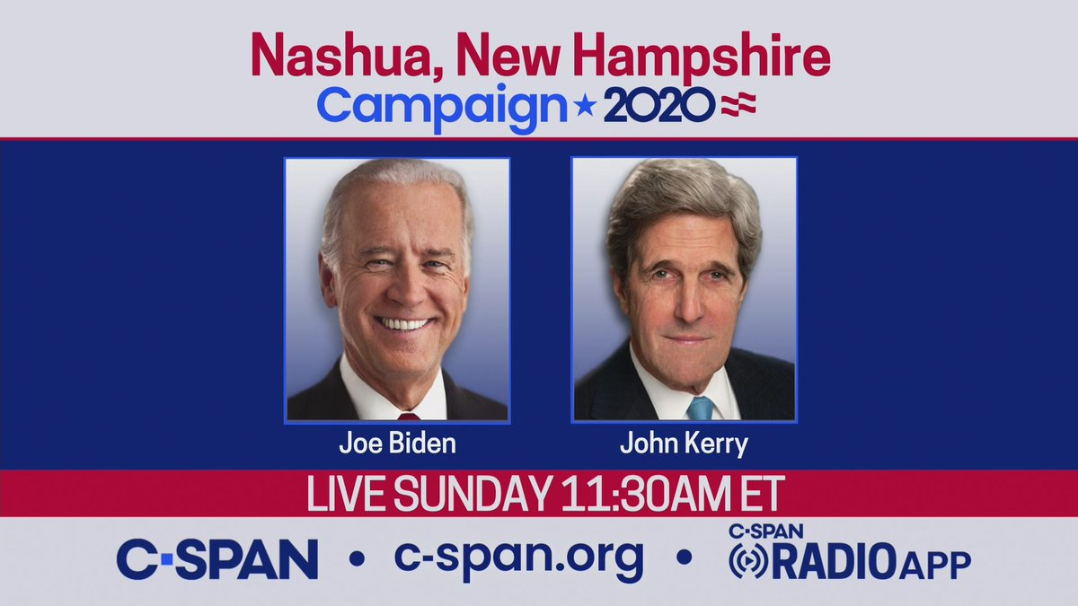 .@JoeBiden & @JohnKerry campaign in Nashua, NH - LIVE at 11:15am ET on C-SPAN cs.pn/2YnSZwM