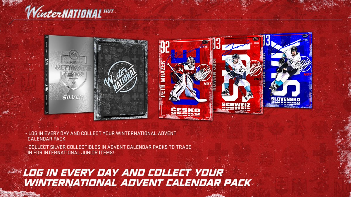 The HUT Winternational Event is here ⛄⛄⛄ Mrazek, Chara and Josi Master Items 😍 Advent Calendar with fun rewards every weekday 😱 and a 91 Overall Quinn Hughes! 🤩 Learn all the details: bit.ly/34Xxzt1