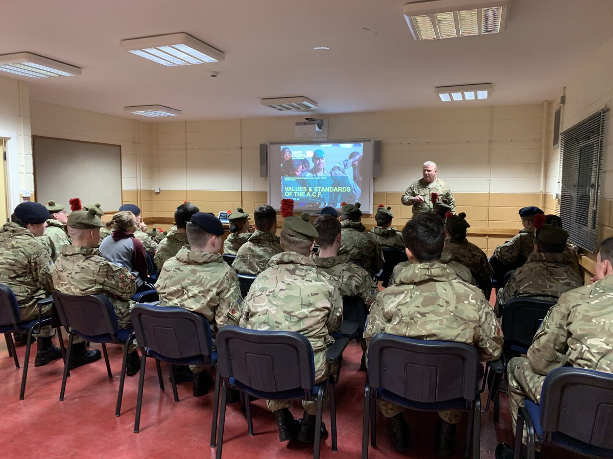 The opening brief, and Values and Standards lesson of the @acfadbn NCO weekend. Our last weekend of 2019, and it's for developing and rewarding the Cadet NCOs #ACF #ArmyCadets #GoingFurther #Empowerment #ADNCO19