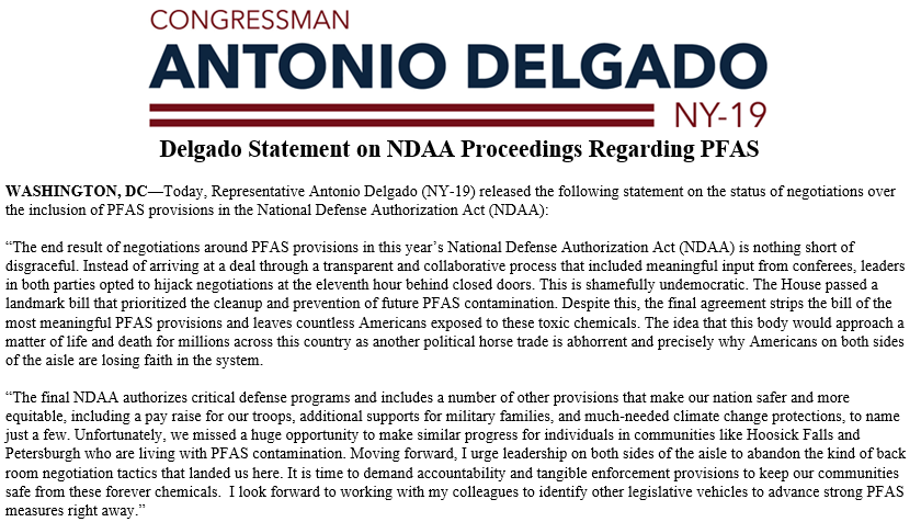 The end result of negotiations around PFAS provisions in this year's National Defense Authorization Act is nothing short of disgraceful. Read my full statement: delgado.house.gov/media/press-re…