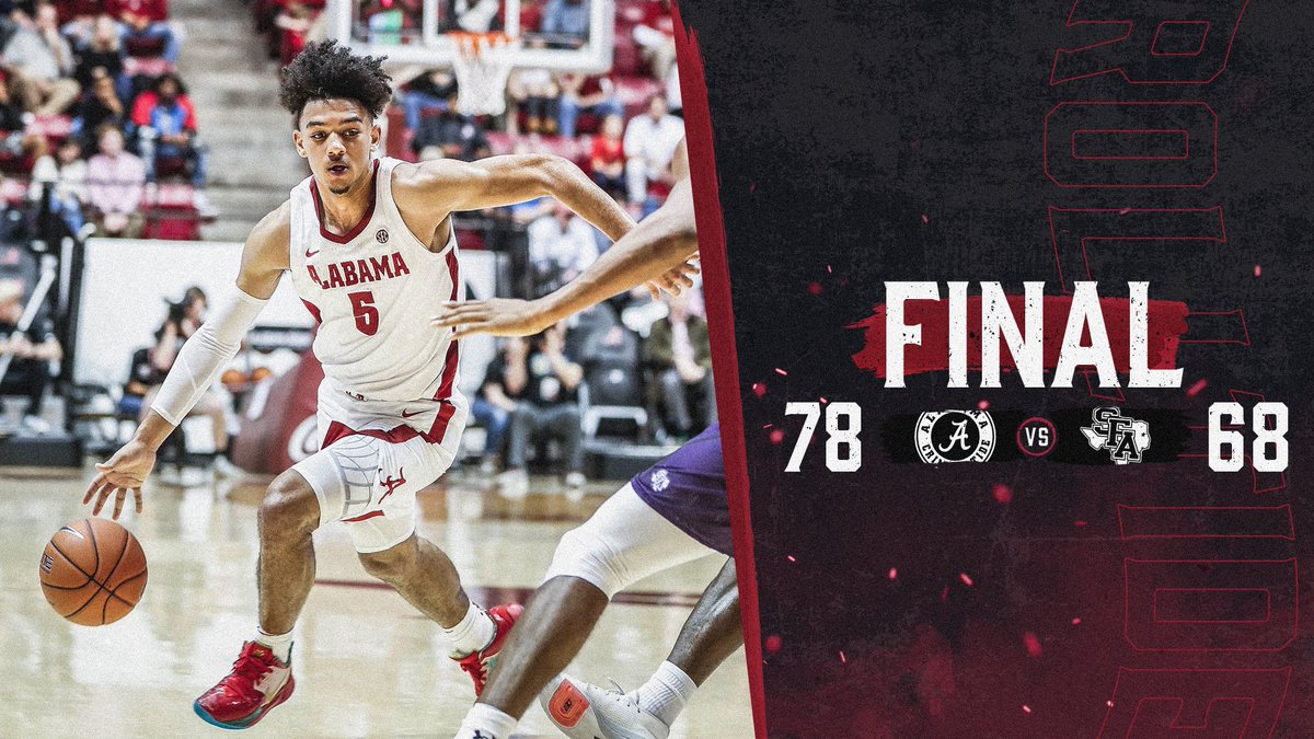 Outstanding! Heck of a win against a very good SFA team for @AlabamaMBB! #RollTide 🏀🐘👍🏼👍🏼