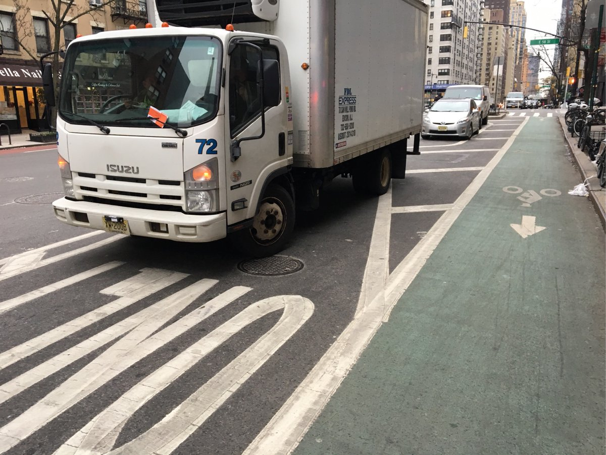 Isuzu NQR/NRR driver XW200B parked illegally near 1079 1st Avenue on December 6. This is in Manhattan Community Board 06 #cbsix & #NYPD17. #VisionZero