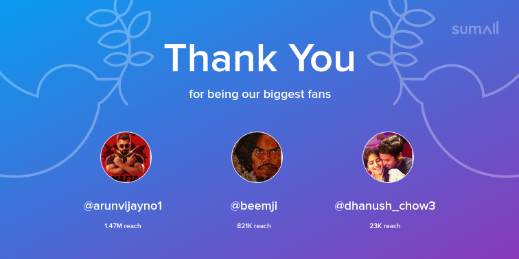 Our biggest fans this week: arunvijayno1, beemji, dhanush_chow3. Thank you! via